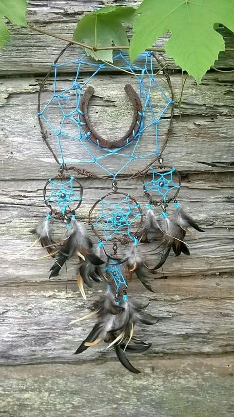 Horseshoe, barb wire and Hay string dreamcatcher