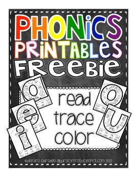 "Phonics Printables- Read, Trace & Color Short Vowels FREEBIE  Vowels also evoked by skateboard movement in ""OK Reading"" book.  Helen Keller had healthy brain (if not eyes and ears).  Color Phonics give clues there also."