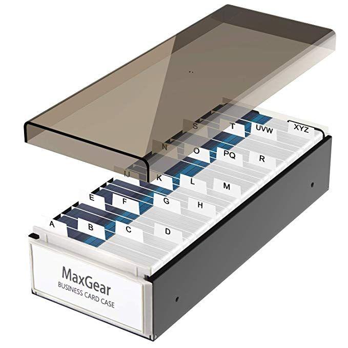 Maxgear Business Card Holder Box Business Card Box Business Card File Business Card Storage Business I Business Card Organizer Cute Business Cards Card Storage