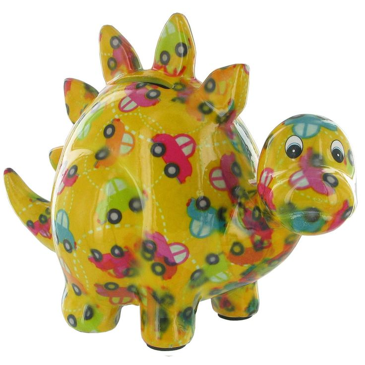 Pomme Pidou Zorc the Dinosaur Animal Money Bank - Yellow Cars