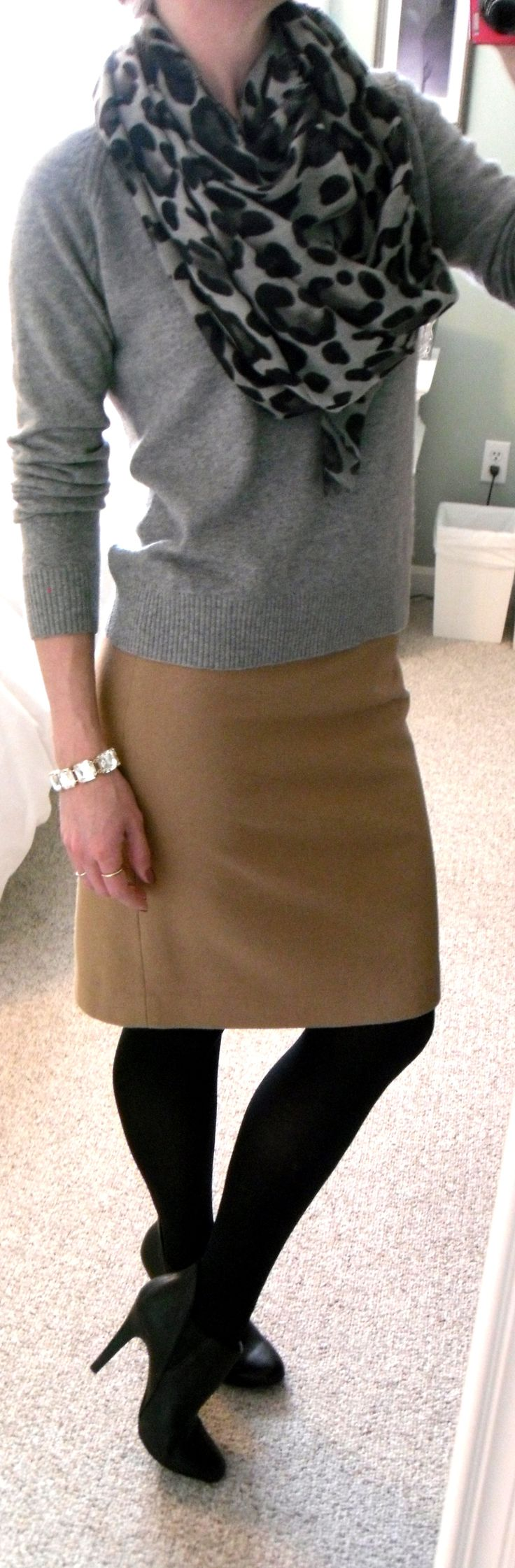 Leopard scarf (tied like an infinity scarf), L.L. Bean gray cashmere sweater, J. Crew wool pencil skirt in camel, black tights and booties