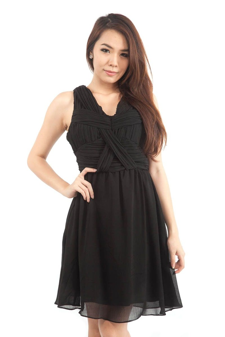 Greek Goddess Dress (Ebony Black) from Glitter Glam Women's Casual