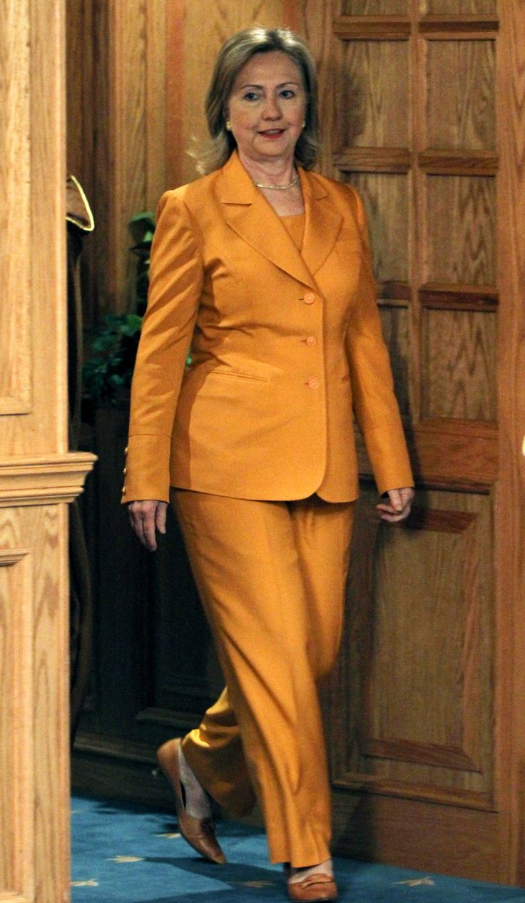 Hillary Clinton making pant suits chic.