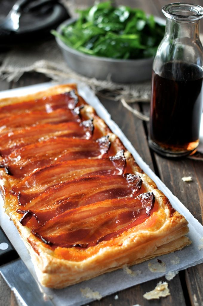 Maple Bacon Pumpkin Tart - double layer of puff pastry topped with mashed pumpkin and bacon, brushed with maple syrup. Just 10 min prep. | Cut into batons to serve as appetisers!
