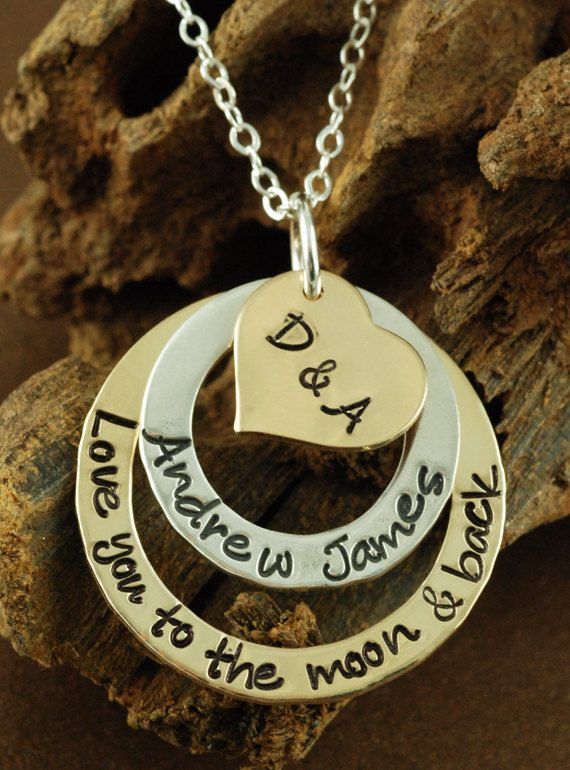 Hand Stamped Jewelry Personalized Necklace Love you to by AnnieReh