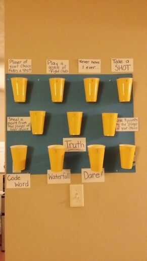 New cheap drinking game my friends and I invented! Hot glue solo cups to a poster board and then make up your own rules! The two cups in the middle on the bottom row are glued away from the poster board by toilet paper rolls to add a higher level of difficulty. Really fun! We call it Wall Ball!