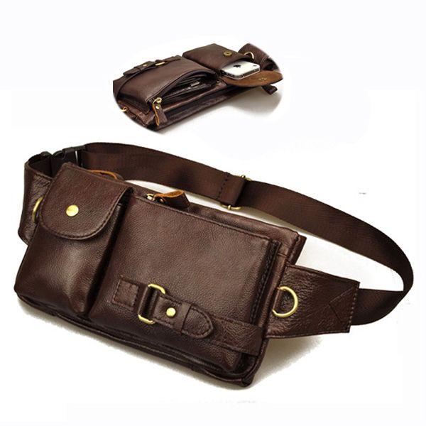 Vintage hombres del cuero genuino riñonera pequeña Tactical exterior viajes paquete de la cintura deporte para cartera y teléfono móvil del envío gratis
