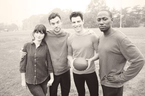 Jess, Nick, Schmidt, and Winston from New Girl - Cast Picture... I feel like they're my best friends.