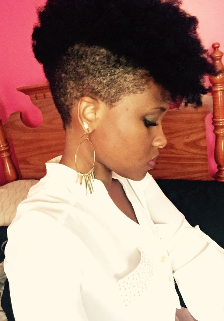 Natural hair shaved mohawk undercut