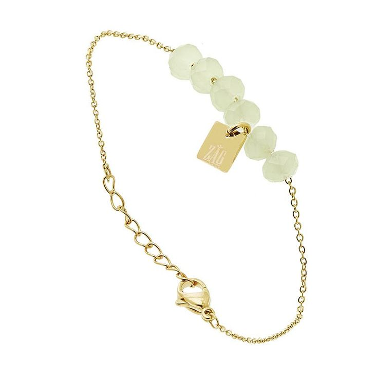 Bracelet Dragée vert d'eau (doré jaune) - Bijoux Fantaisie Créateurs