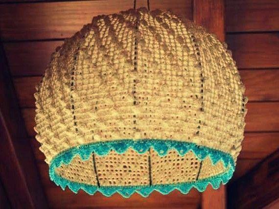 Lampara techo crochet semiesfera