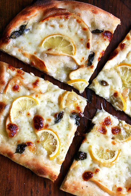 Pizza with Lemon, Smoked Mozzarella & Basil. Holy cow that sounds good.