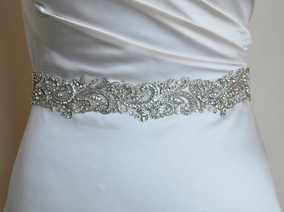 Luxury bridal belt, silver wedding belt, wedding dress belt, hand-embroidered, quality embellished belt, bridal belt, high quality, beading