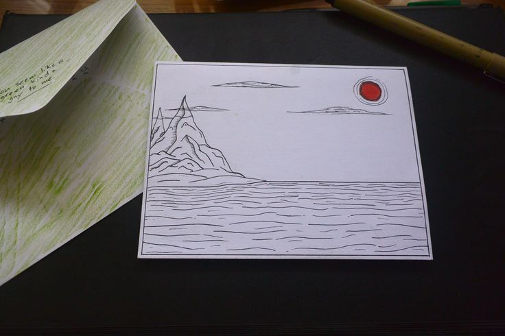 """Homemade, """"Mountains falling into water"""" card"""