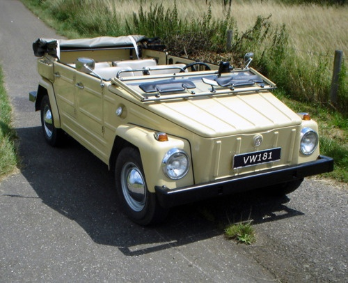 The VW Thing.  Volkswagen sold these open-top military style vehicles in the US during the 1960's.