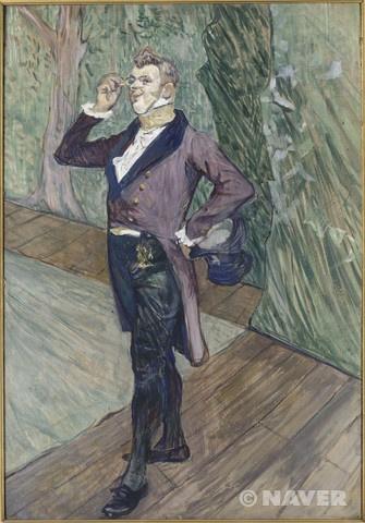 """""""코메디 프랑세즈의 앙리 사마리 (1865-1902) (Henry Samary (1865-1902), de la Comédie-Française)"""" (1889)     이 초상화에서는 유난히 로트렉 특유의 재치있는 느낌이 넘쳐난다. 그만의 율동적인 선들을 유지하면서 마치 물랑루즈의 춤을 그린 그림들에서와 같은 동적인 느낌을 유지하고 있기 때문이다. 덕분에 초상화임에도 불구하고 작품 속 주인공이 마치 당장이라도 움직일 것만 같은 느낌이 든다."""