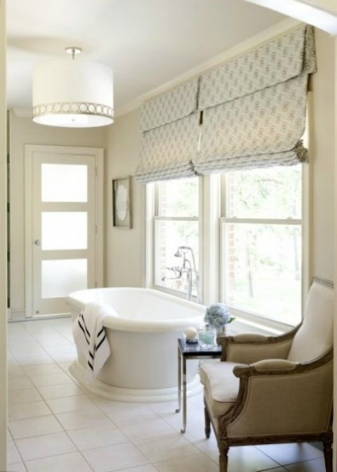Soft Roman Shades In Elegant Master Bathroom Window Treatments Shades And Blinds Pinterest