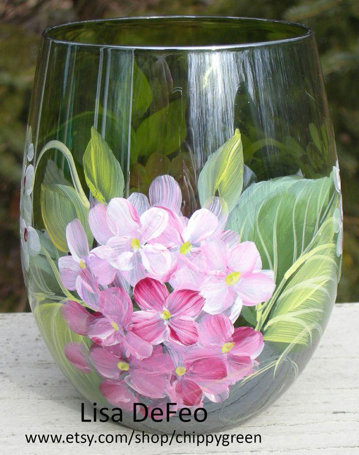 my pink hydrangea wine glass