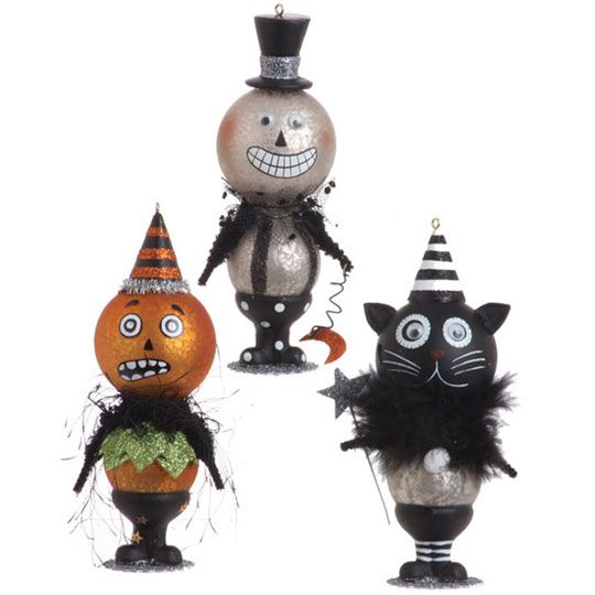halloween ornaments pumpkin skeleton and cat ornament - Halloween Christmas Ornaments