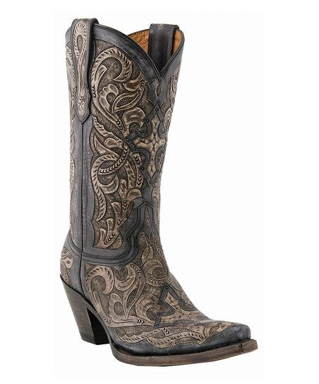 Charcoal Hand-Tooled Cowboy Boot - Women