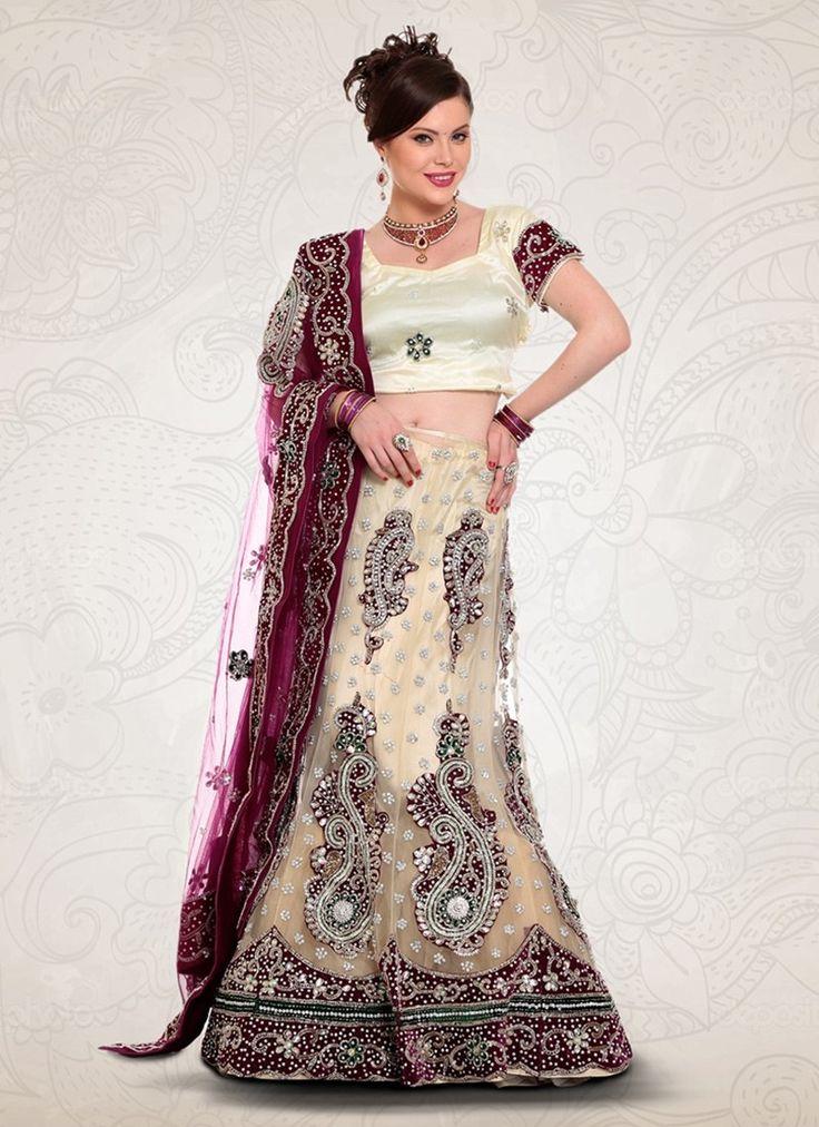 Cream Net Bridal Lehenga Choli #Lehenga #LehengaCholi #Weddingdress #Bridalwear #BridalLehengaCholi #OnlineLehengaShopping