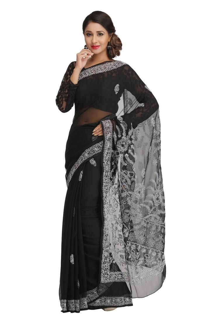 c68440ac937aae Black Embroidered Faux Georgette Saree With Blouse, Embroidered Pallu And  Embroidered Border.