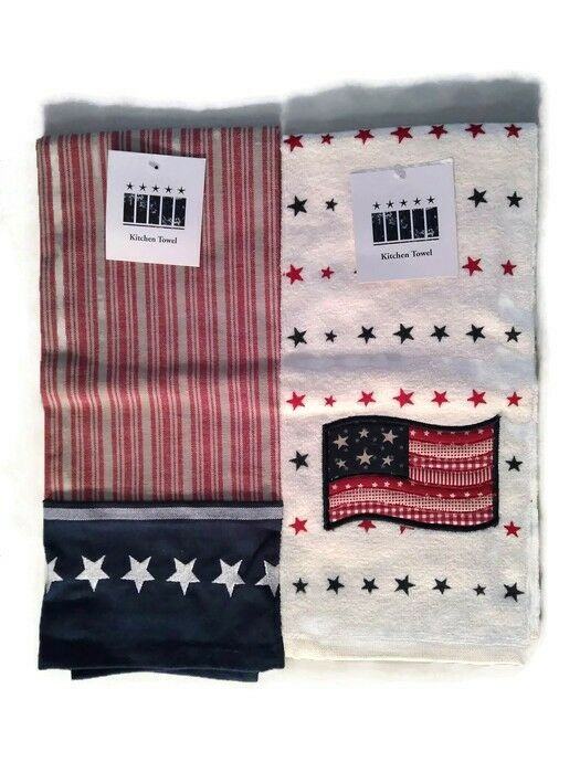 Red White Blue Kitchen Towel Set Of 2 Flag Patriotic American