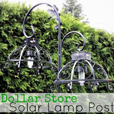 Garden Lamp Post made from Dollar Store Solar Lights - Mad in Crafts