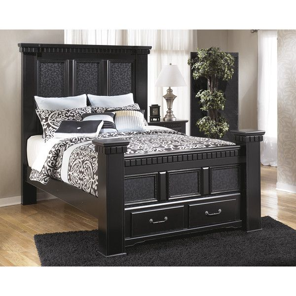 signature design by ashley cavallino black storage poster bed 2055 liked on polyvore - King Storage Bed Frame