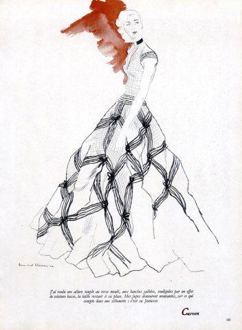 Carven 1947 Evening Dress Bernard Blossac by Bernard Blossac | Hprints.com