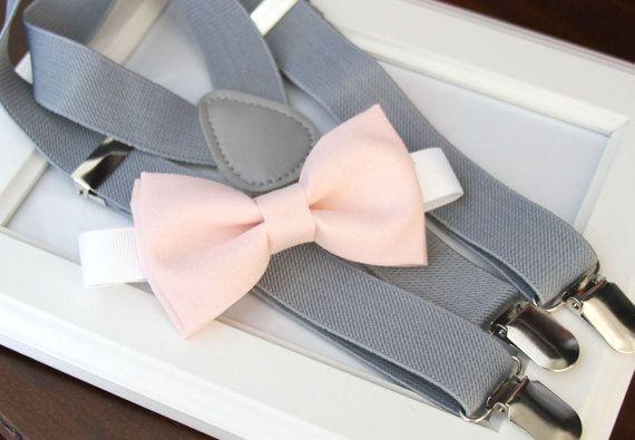 Light Pink bow-tie & Light gray elastic suspender set, Adjustable neck strap and suspender - Blush pink bow tie and light gray suspenders