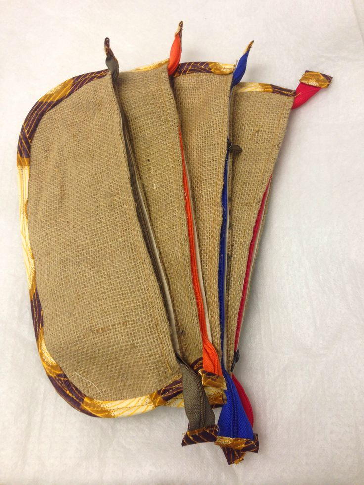 Some of our new hessian pencil bags!  Africa print with an array of colours!