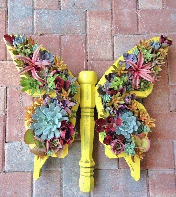 DIY Butterfly Succulent Planter Vertical door RootedInSucculents