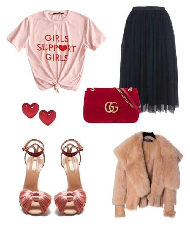 """""""GIRLS"""" by elizabeth-roberts-3 ❤ liked on Polyvore featuring Lace & Beads, Aquazzura, Gucci, Alison Lou and Balmain"""