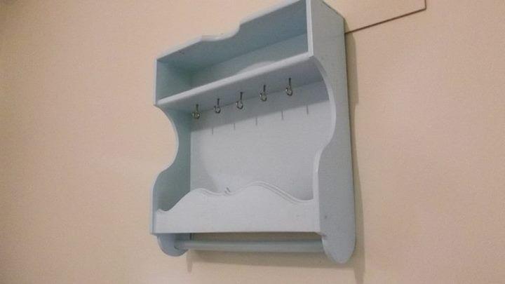 Nicho artesanal feito com gaveta reciclada - Azul