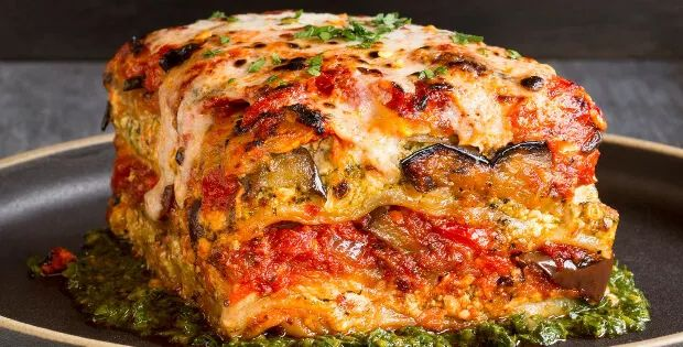 VOLUPTUOUS ROASTED VEGETABLE VEGAN LASAGNA WITH PUTTANESCA SAUCE