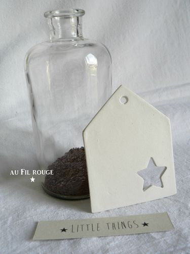 Inspiration: clay house-shaped tag. Use a tiny cookie cutter to make the star.