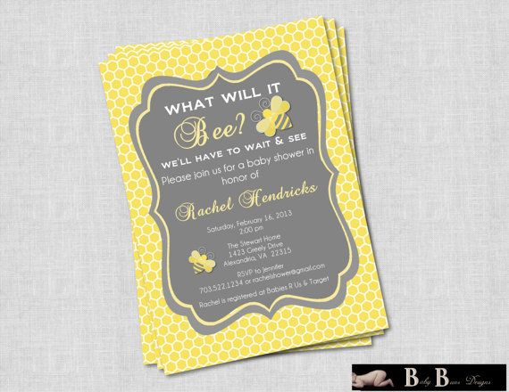 What Will It Bee Baby Shower Or Gender Reveal Invitation Gray Yellow