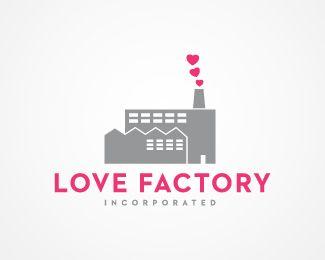 Logo Design: Love Factory #Logo #Design gefunden auf www.abduzeedo.com gepinned von der Hamburger #Werbeagentur www.BlickeDeeler.de