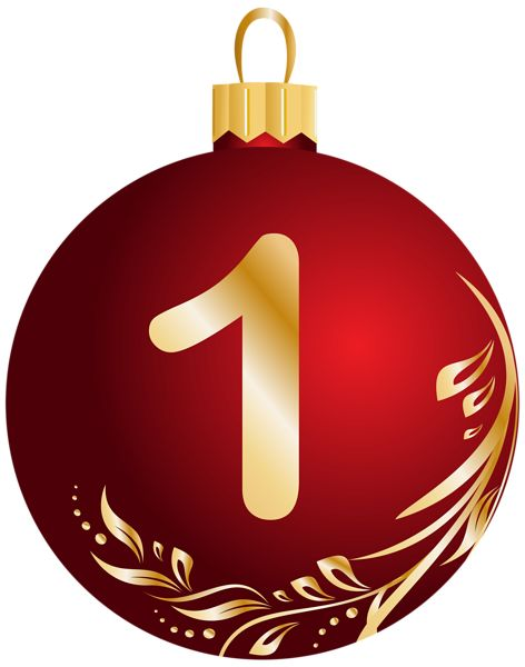 Christmas Ball Number One Transparent PNG Clip Art Image