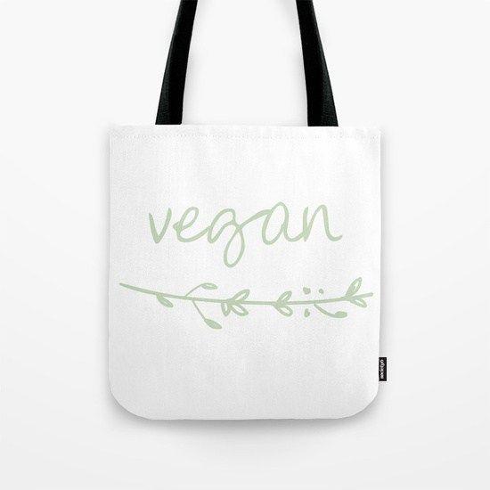 Vegán feliratos fehér vászontáska ágacska mintával – VegaNinja Webshop