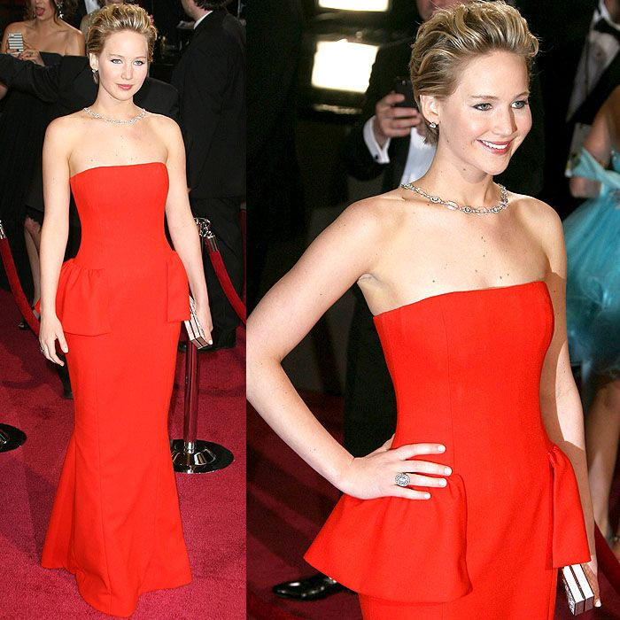 Jennifer Lawrence posing on the red carpet at the 86th Annual Academy Awards held at Dolby Theatre in Hollywood, California, on March 2, 2014