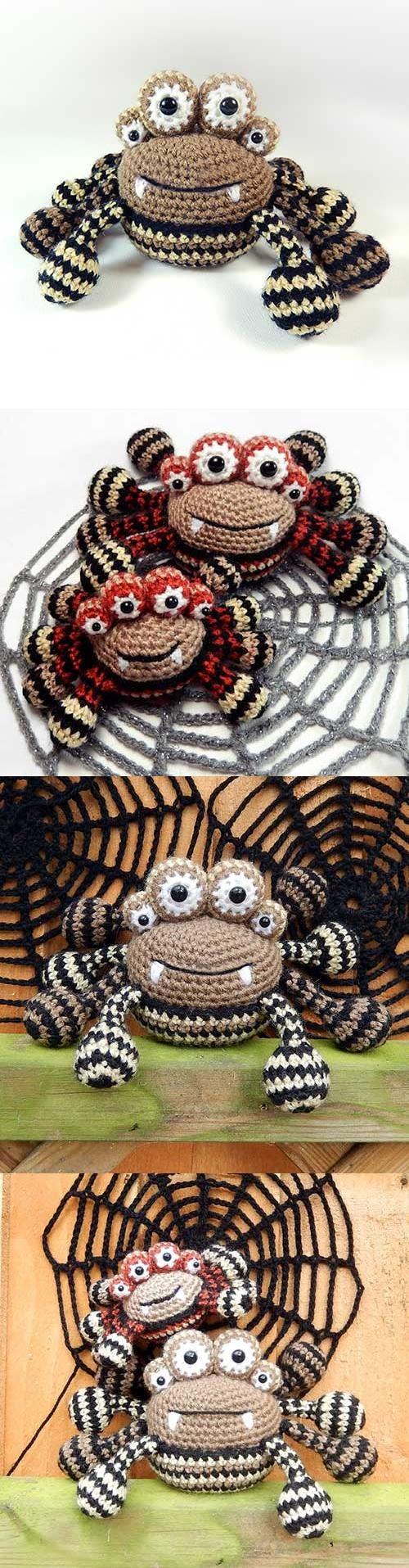 CROCHET - SPIDER WITH 4 EYES / ARAIGNEE AVEC 4 YEUX / SPIN MET 4 OGEN - Araña de 4 ojos