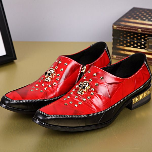 Find More Men's Casual Shoes Information about Luxury Brand Style Men Head Layer Cowhide Genuine Leather Rivet Head Skull Pointed Feet Wedding Stylist Metrosexual Shoes,High Quality shoes caterpillar,China rivet joint Suppliers, Cheap rivet ring from World famous brand discount store on Aliexpress.com