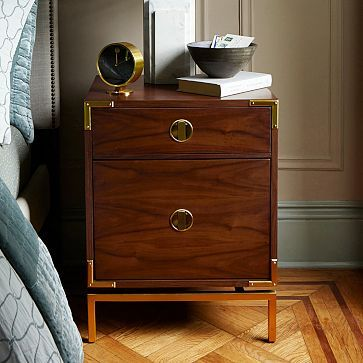 This Malone Campaign Nightstand - Walnut #westelm would be perfect for a #mancave bedroom