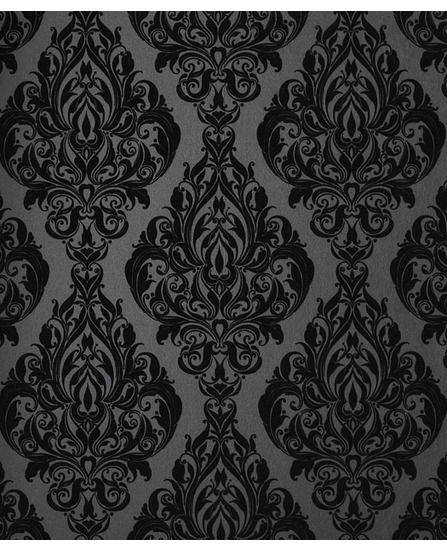 """Kinky Vintage: Naughty Noir"" black damask flocked wallpaper from Graham & Brown ©."