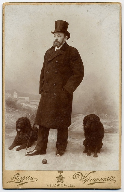 +~+~ Antique Photograph ~+~+  Gentleman and his dogs