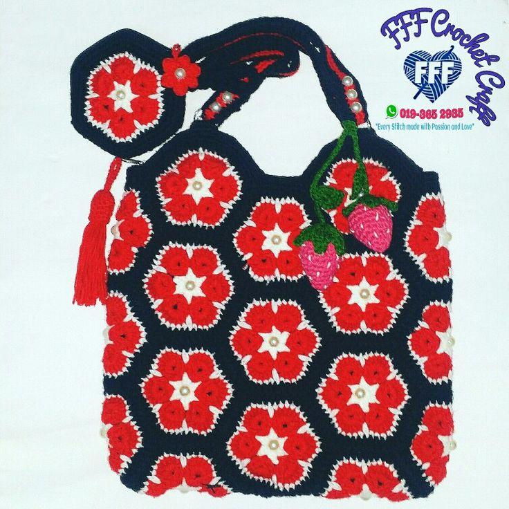 Crochet African Flower Bag Crochet African Flower Coin Purse Kait beg African Flower motif Crochet Bag Crochet Flower