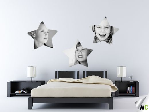 Mother's Day gift ideas; our wall art comes in a variety of shapes including star shapes - Tess, Paige and Jacob's black and white photos look gorgeous in this space!