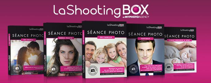 """Conçu et édité par Myphotoagency, LaShootingBOX est le premier coffret cadeau """"séance photo"""". Décliné en 5 offres thématiques, il permet de bénéficier d'un shooting photo en studio, à domicile ou en extérieur avec l'un des 200 photographes professionnels partenaires dans toute la France."""